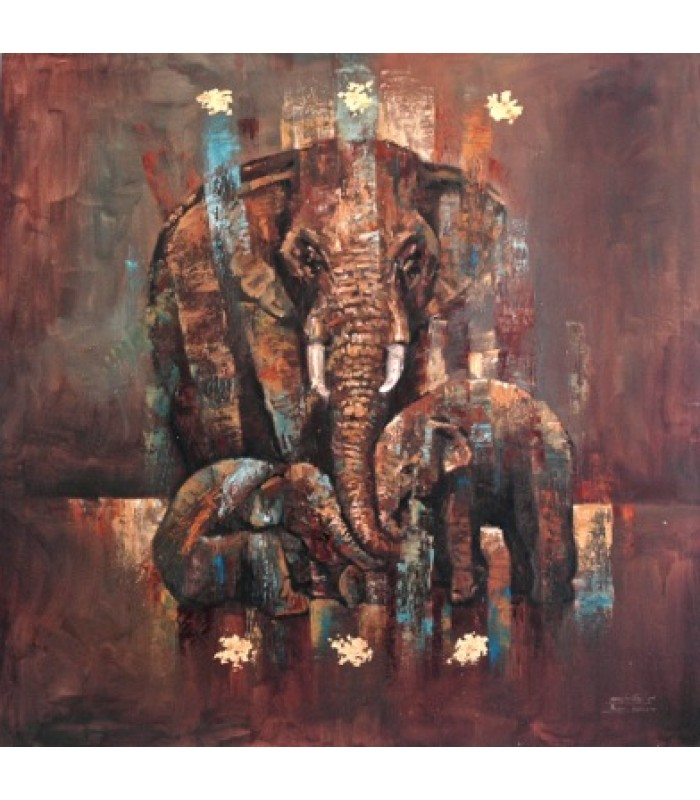 3 Elephants (900mm x 900mm)