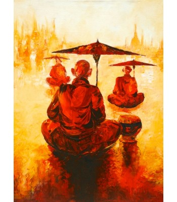 Monks with umbrellas (SOLD)